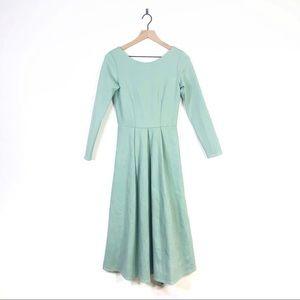 Closet London Mint Long Sleeve Pleated Midi Dress